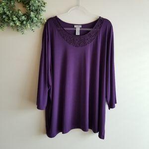CATHERINES Purple Grape Top Lace Neckline 3X